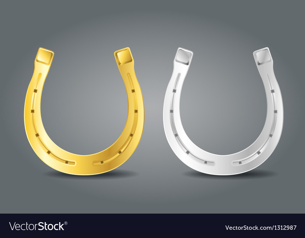 Golden and silver horseshoes vector image