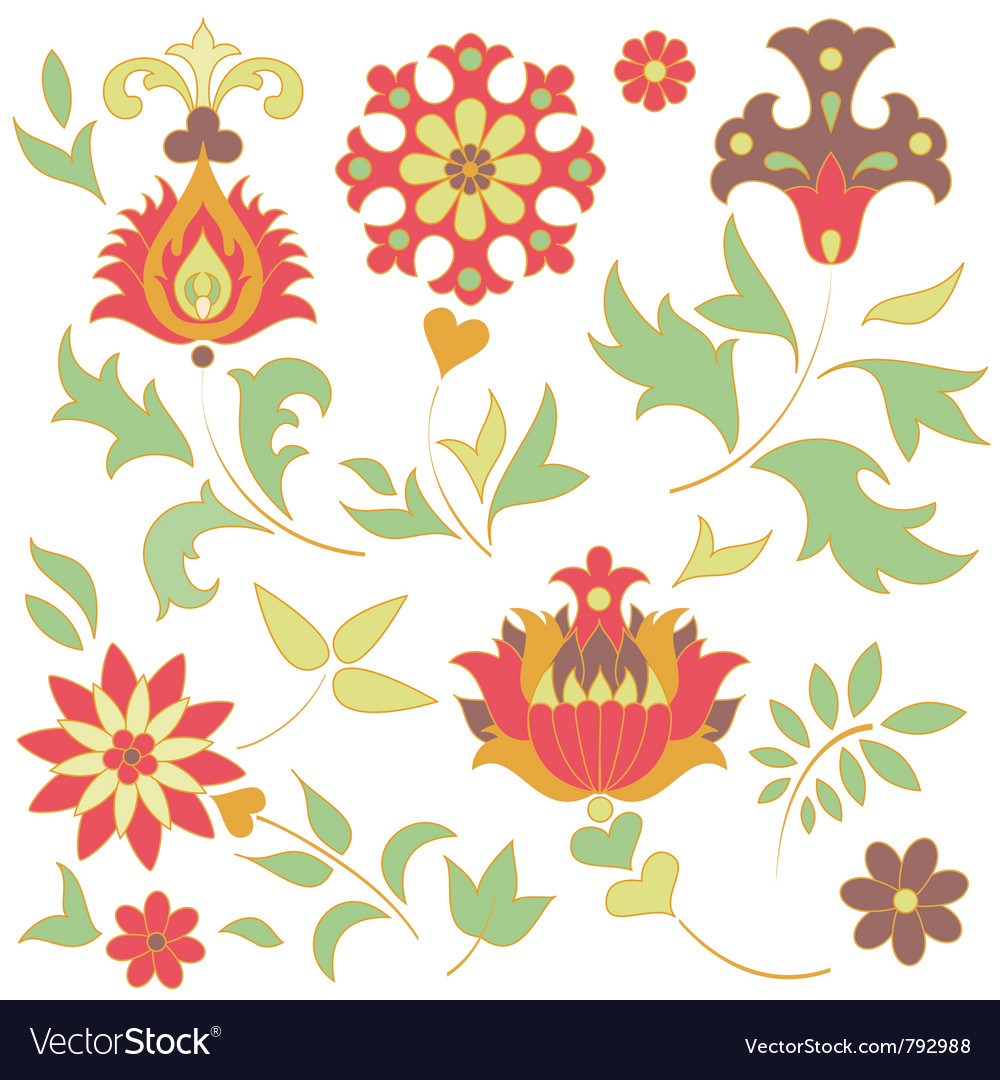 Set of retro flower elements vector image