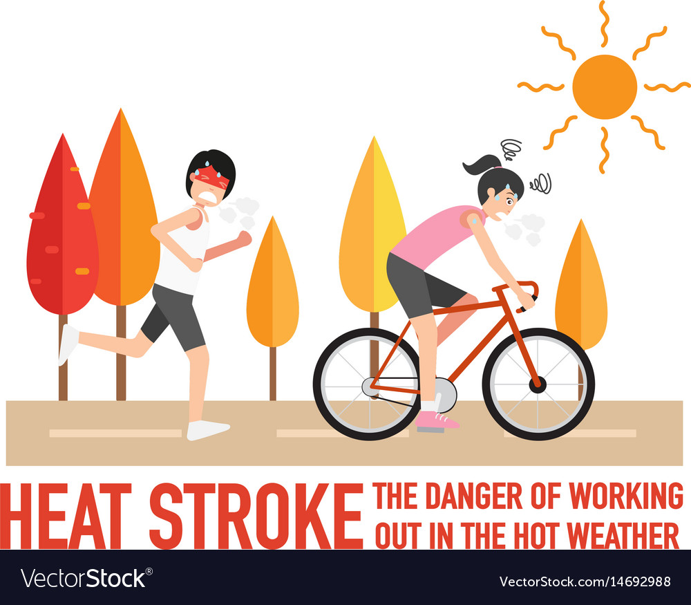 Heat stroke the dangers of working vector image