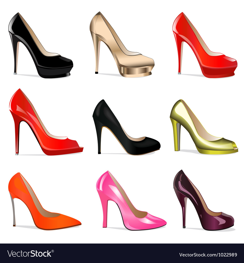 Set of womens shoes with vector image