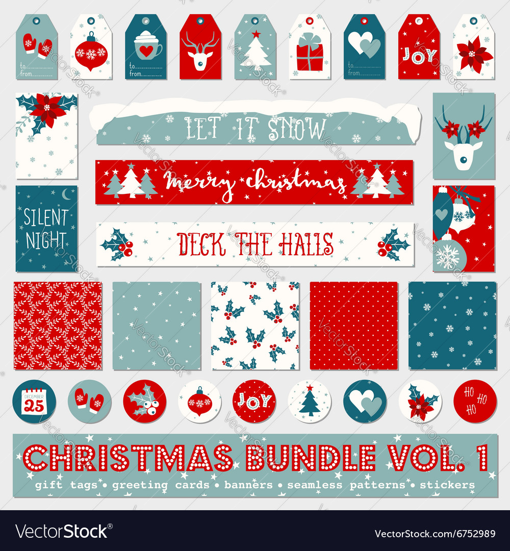 Red white blue christmas printable papers bundle vector image