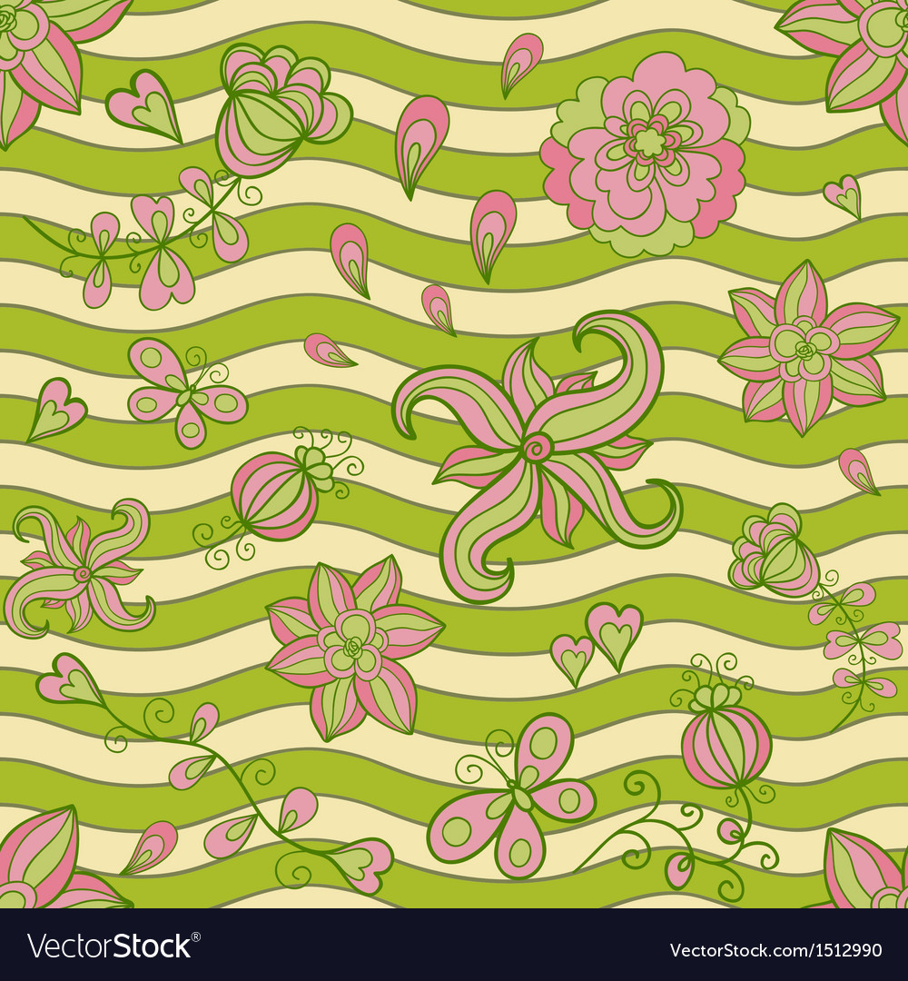 Abstract floral doodle seamless pattern vector image