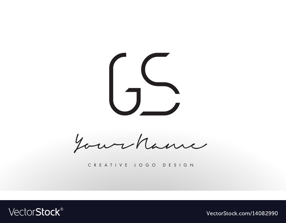 Simple Line Art Designs : Gs letters logo design slim creative simple black vector image