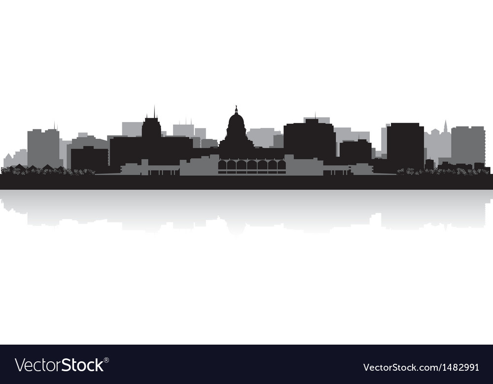 Madison USA city skyline silhouette vector image