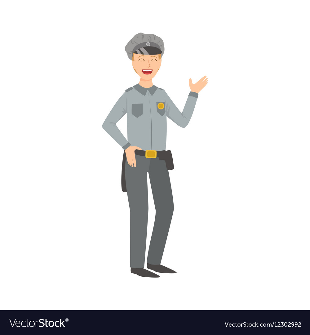 Man Police Officer Part Of Happy People And Their vector image