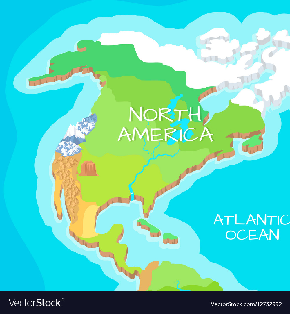 North america mainland cartoon relief map vector image gumiabroncs Images