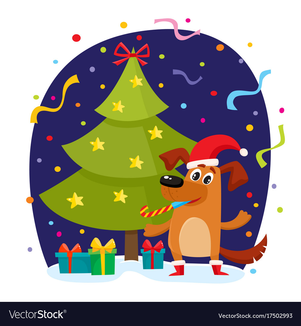 Christmas greeting card with funny dog character vector image kristyandbryce Image collections