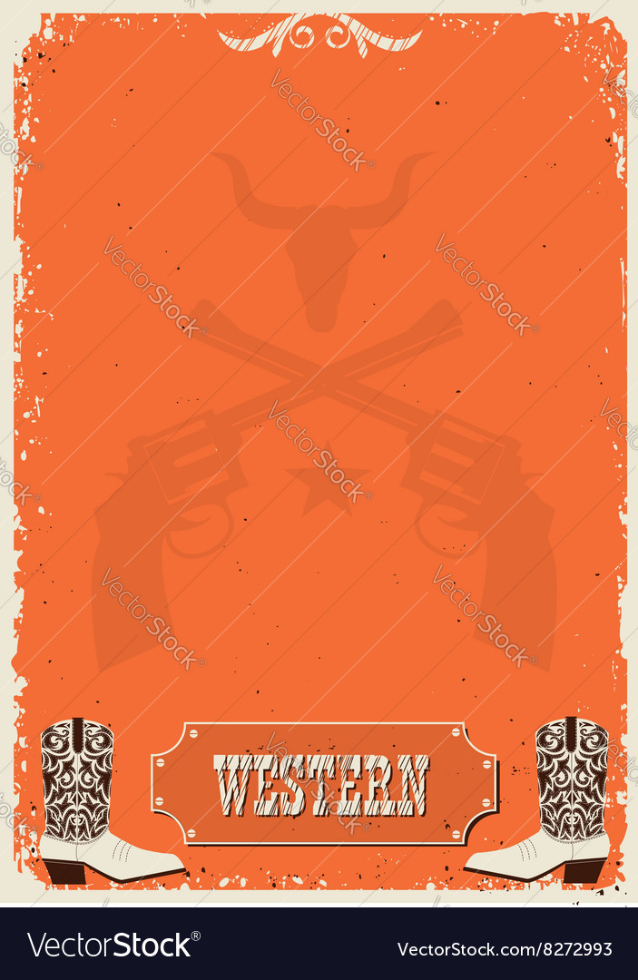 Cowboy background western poster for text vector image