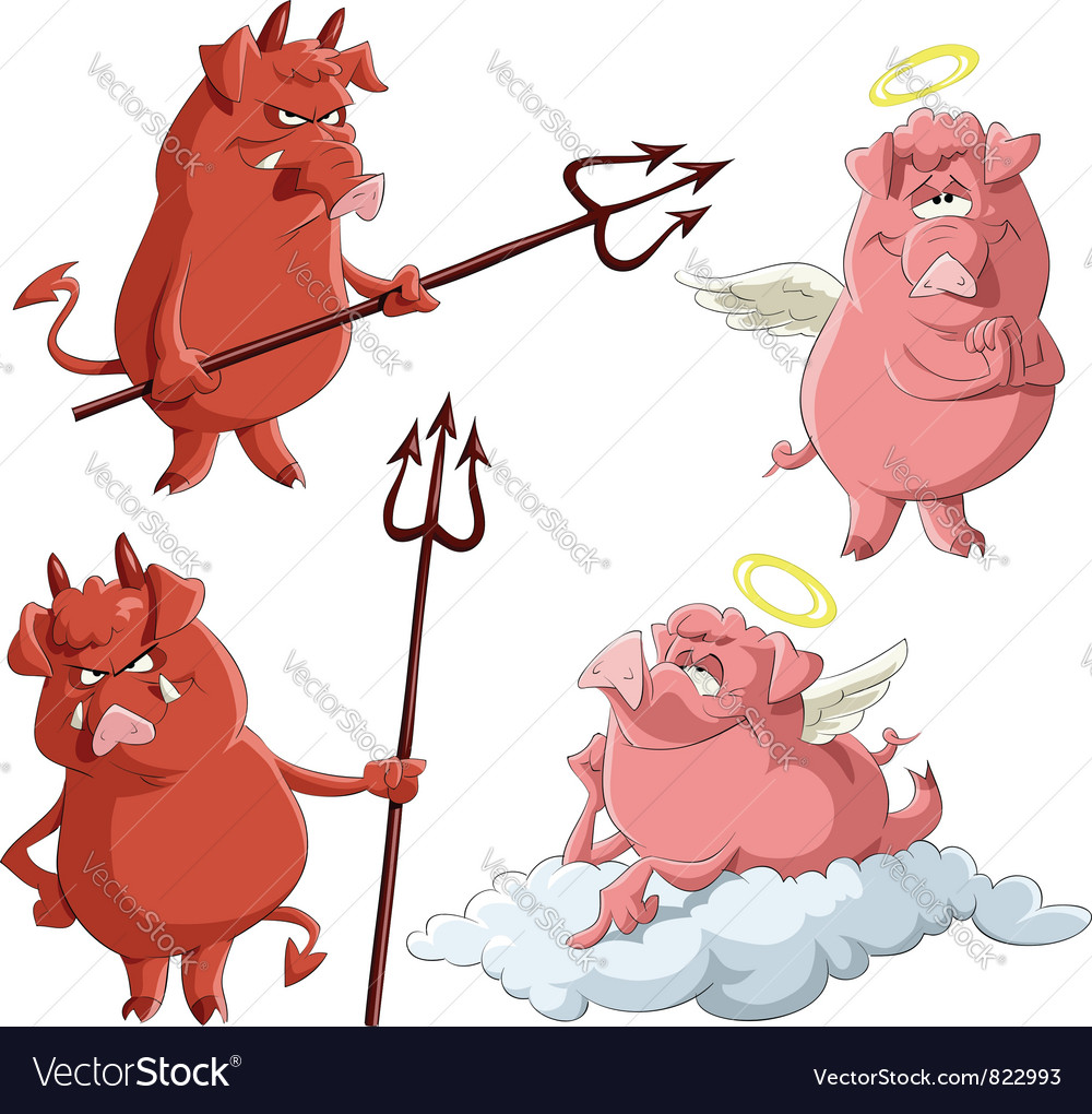 Pig angels and demons vector image