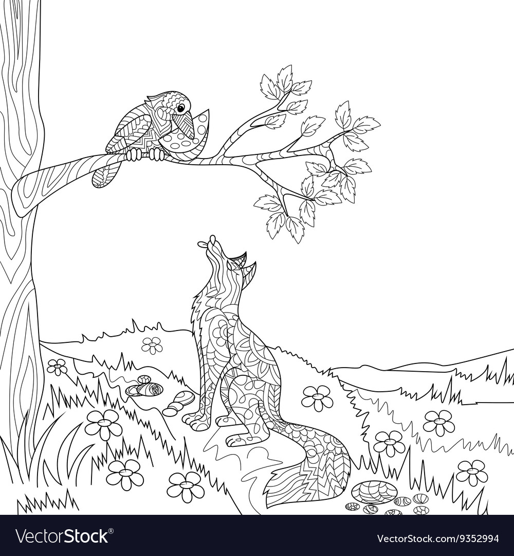 Fox and crow fairy tale coloring book Royalty Free Vector
