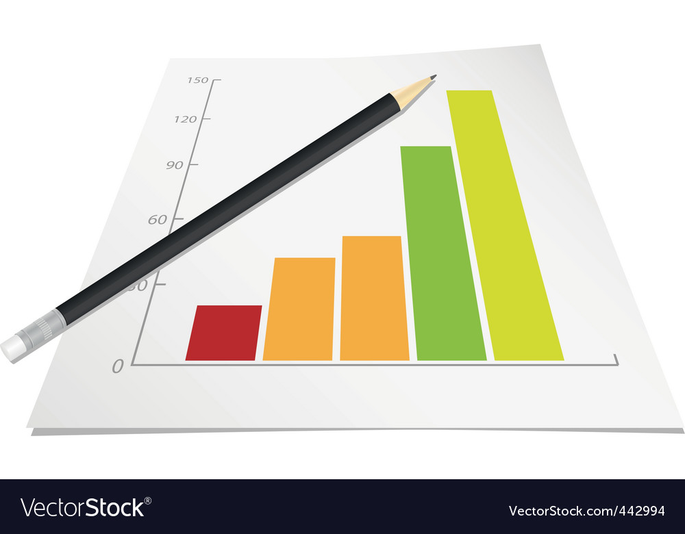 Graph with pencil vector image