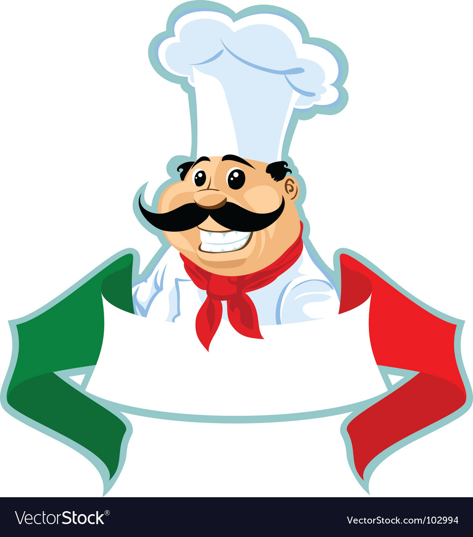 Italian chef label vector image