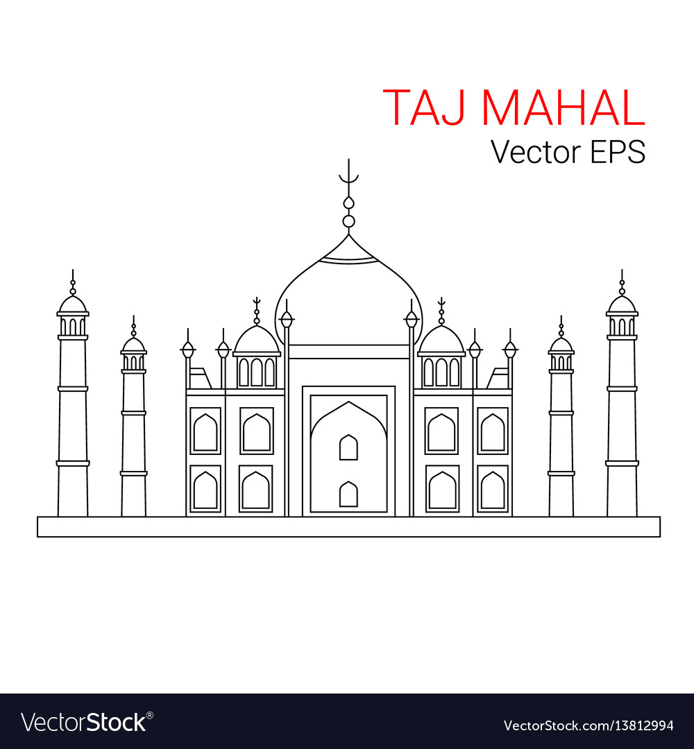 Taj mahal india line flat icon isolated vector image