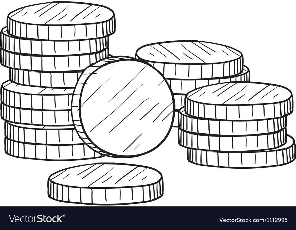 Doodle money coins stack vector image