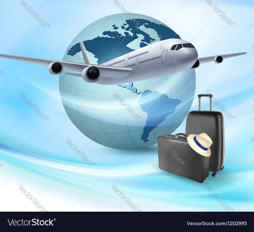 Background with airplane and globe Travel concept Vector Image
