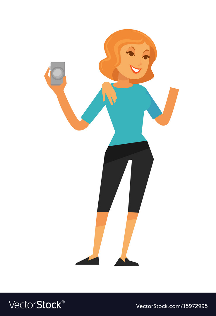 Smiling woman holding camera isolated on white vector image