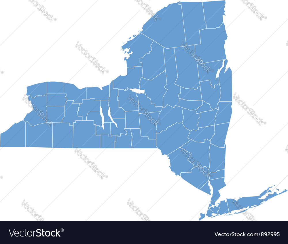 State Map Of New York By Counties Royalty Free Vector Image - Map of new york counties