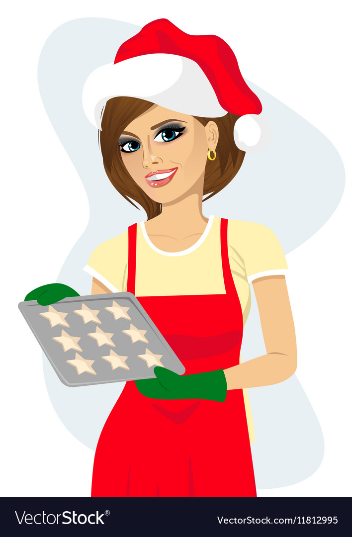 Woman holding tray with baking cookies vector image