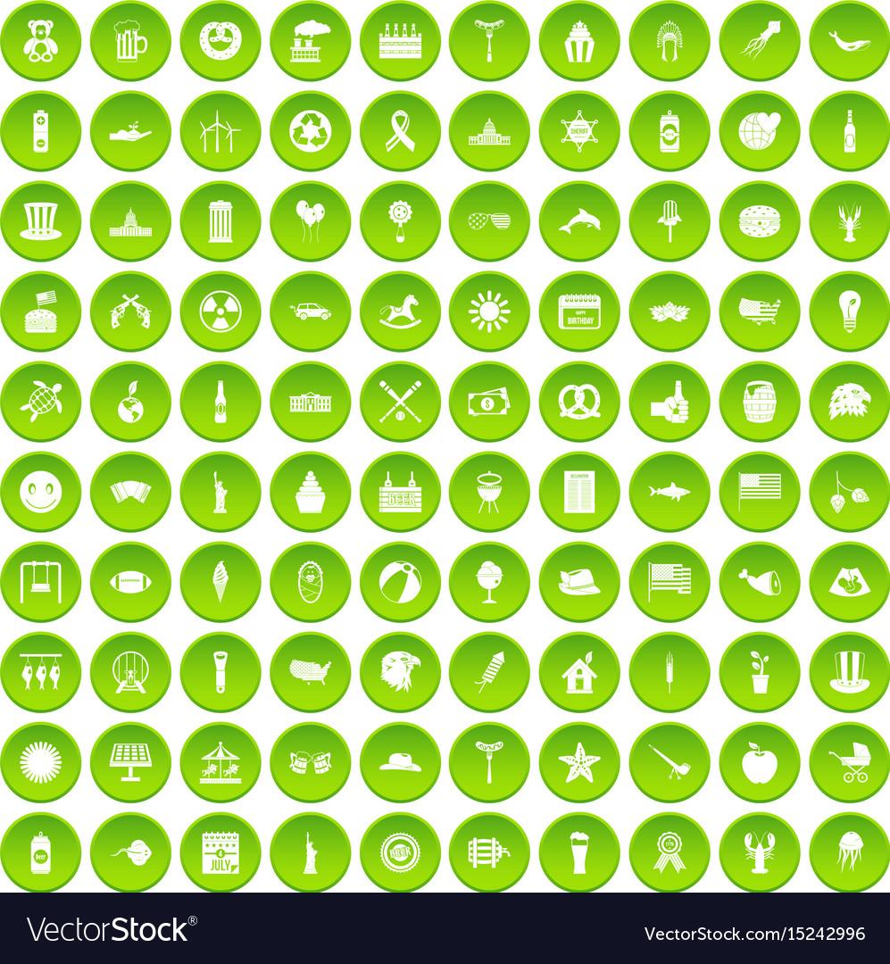 100 summer holidays icons set green circle vector image