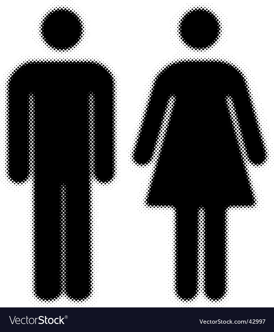 Woman and man halftones silhouettes vector image