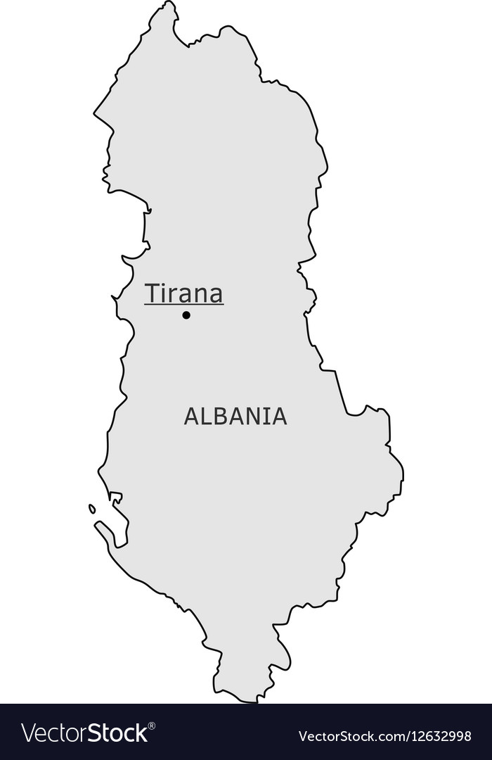 Albania silhouette map with Tirana capital Vector Image