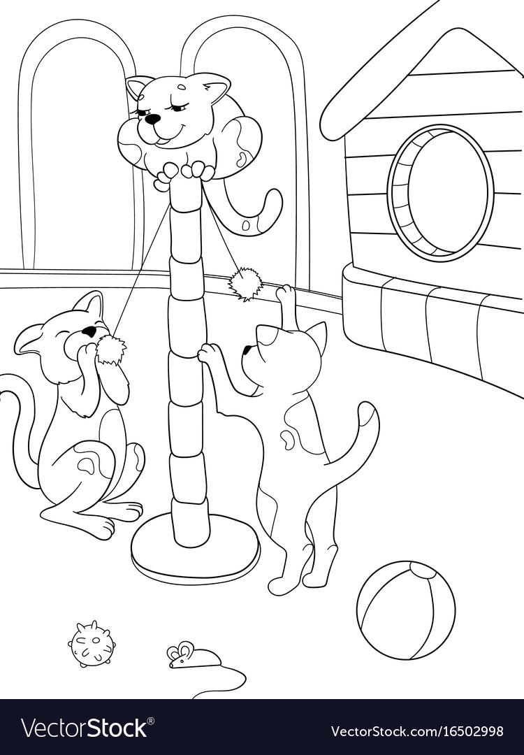 Childrens Coloring Book Cartoon Family On Nature Vector Image