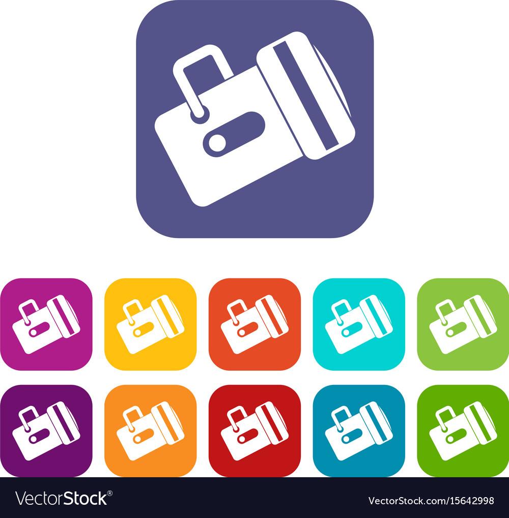 Flashlight icons set flat vector image