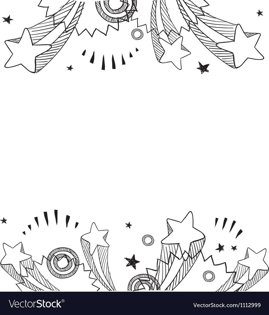 Doodle pop border horizontal vector image