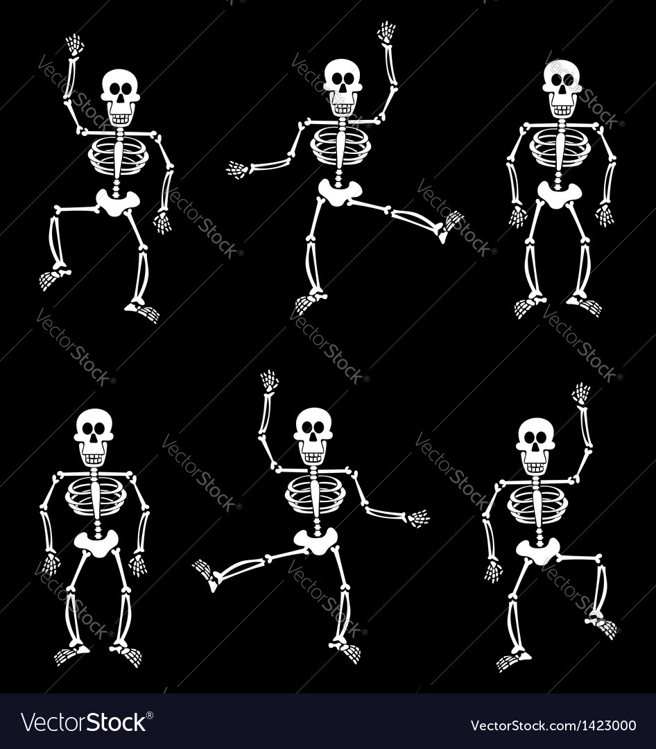 halloween skeleton pattern black background vector image - Halloween Skeleton