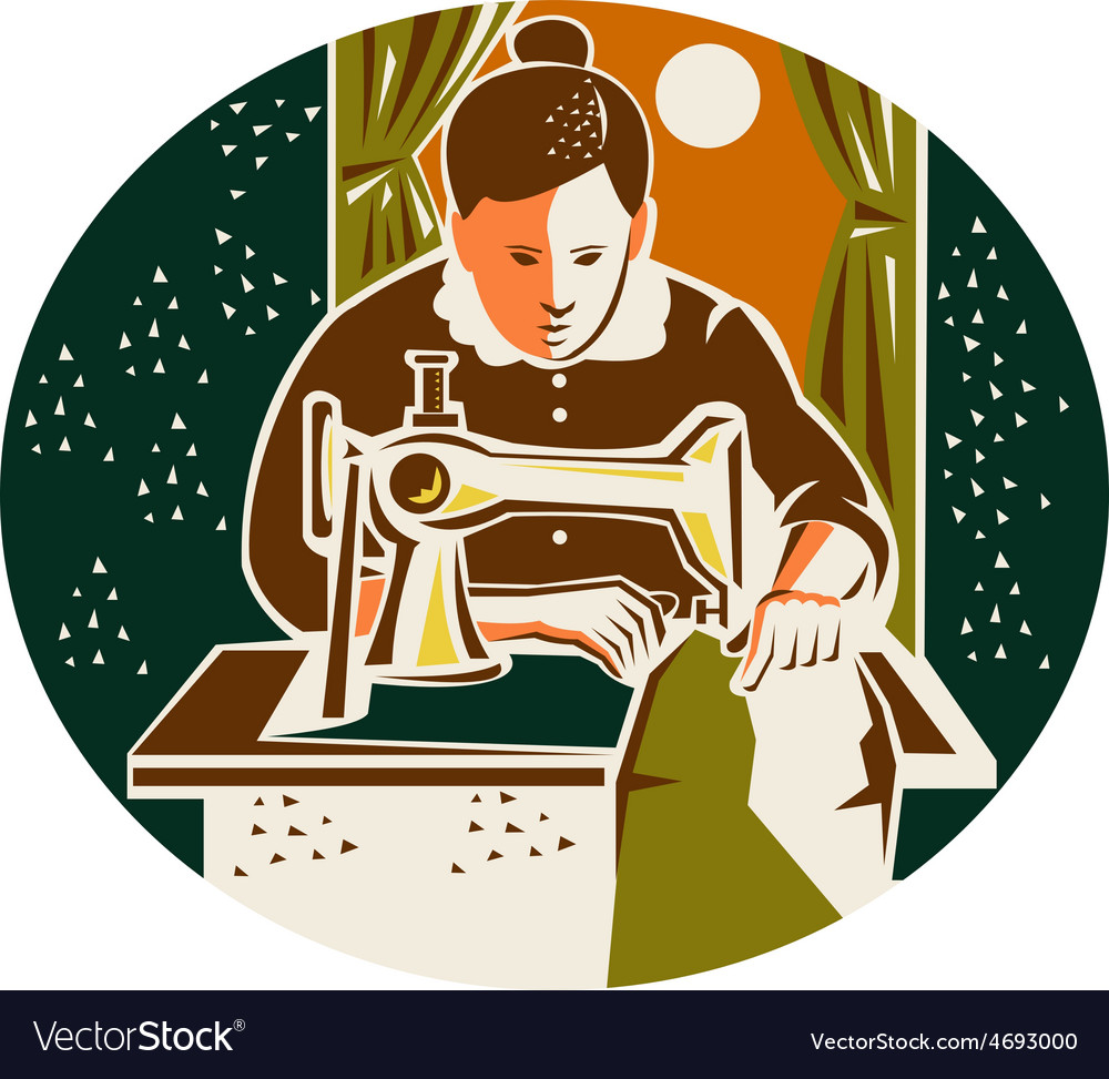 Seamstress Dressmaker Sewing Oval Retro vector image