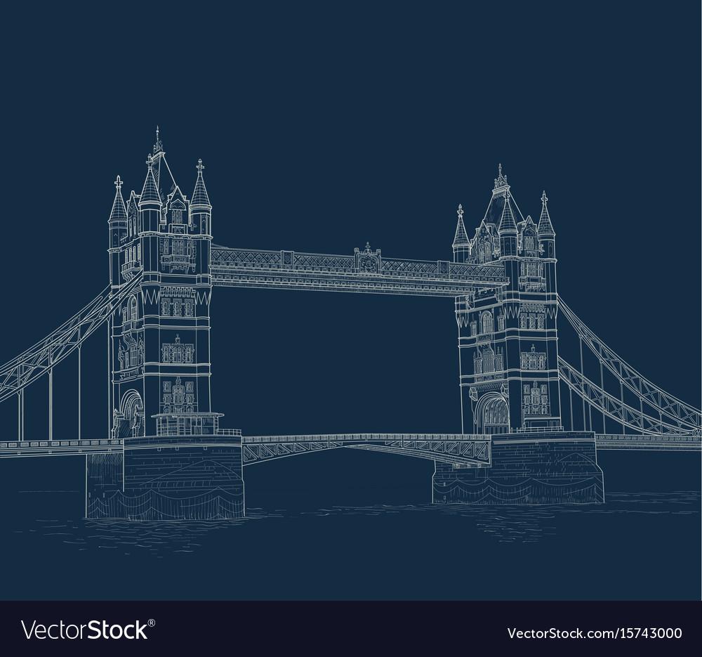 Sketch tower bridge vector image