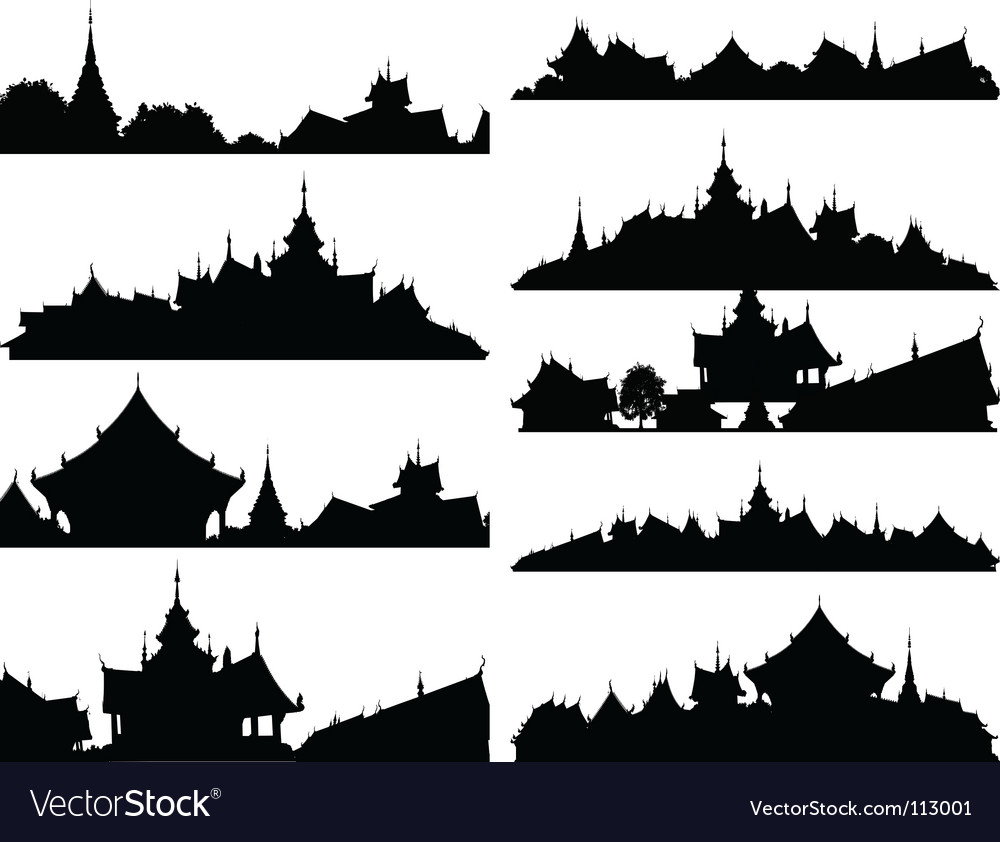 Temple foregrounds Vector Image