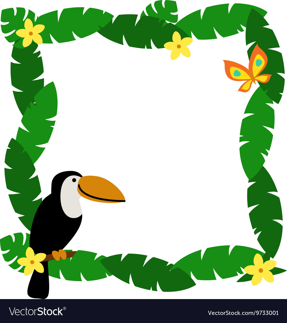border with palm leaves and cute cartoon smiling vector image