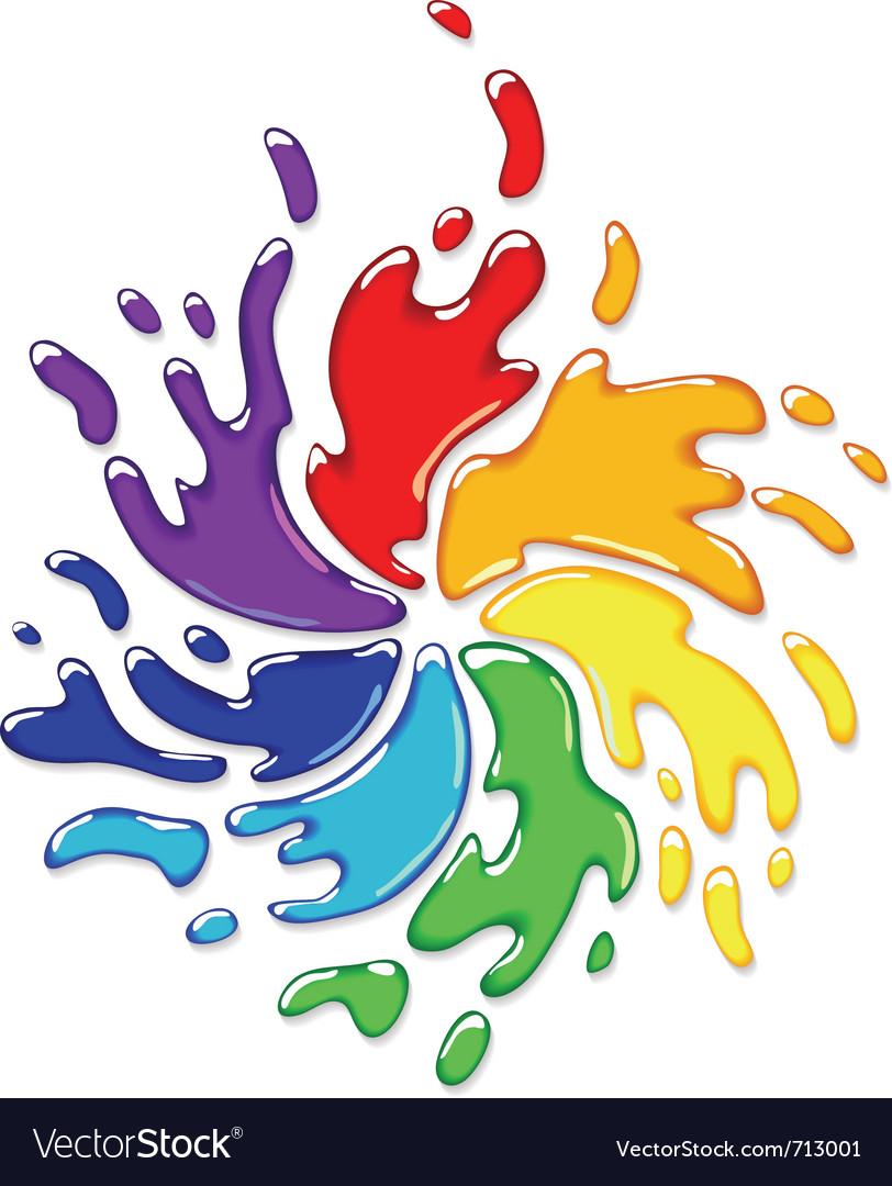 Rainbow paint splash vector image