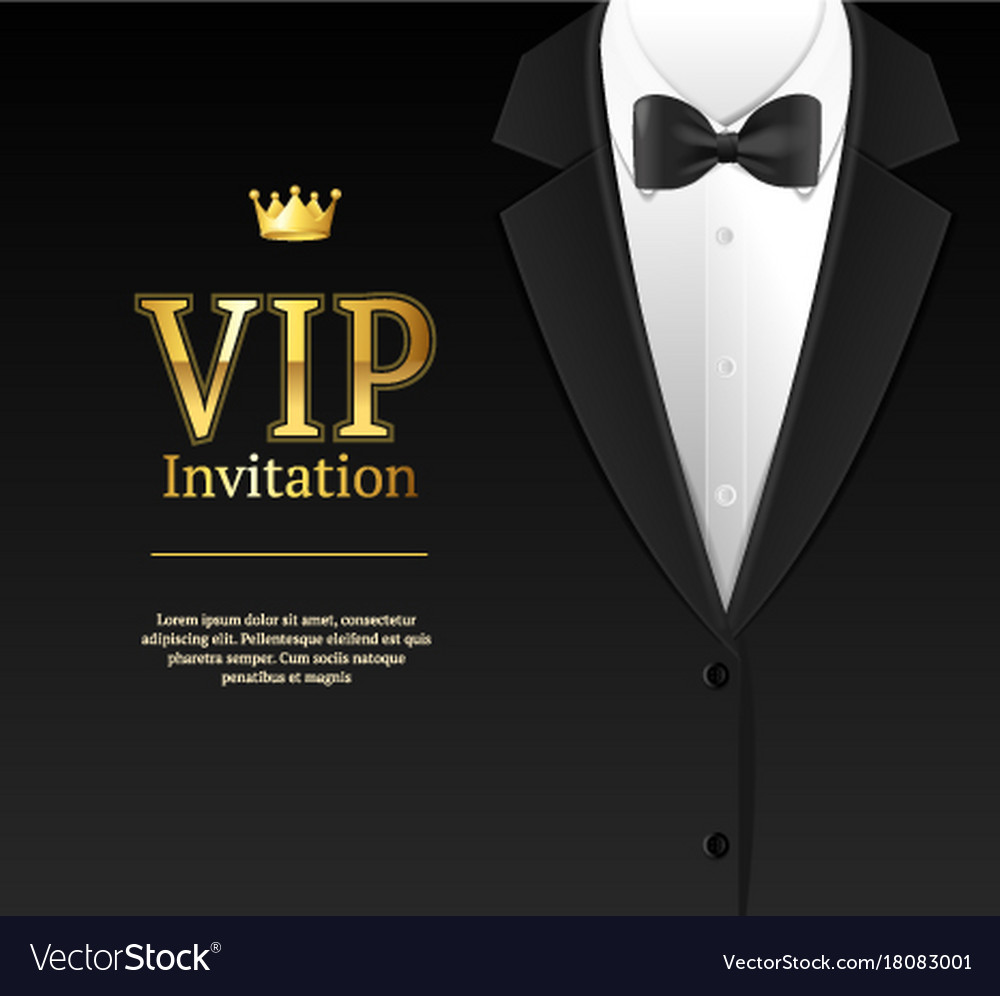 Vip invitation with bow tie royalty free vector image vip invitation with bow tie vector image stopboris Image collections