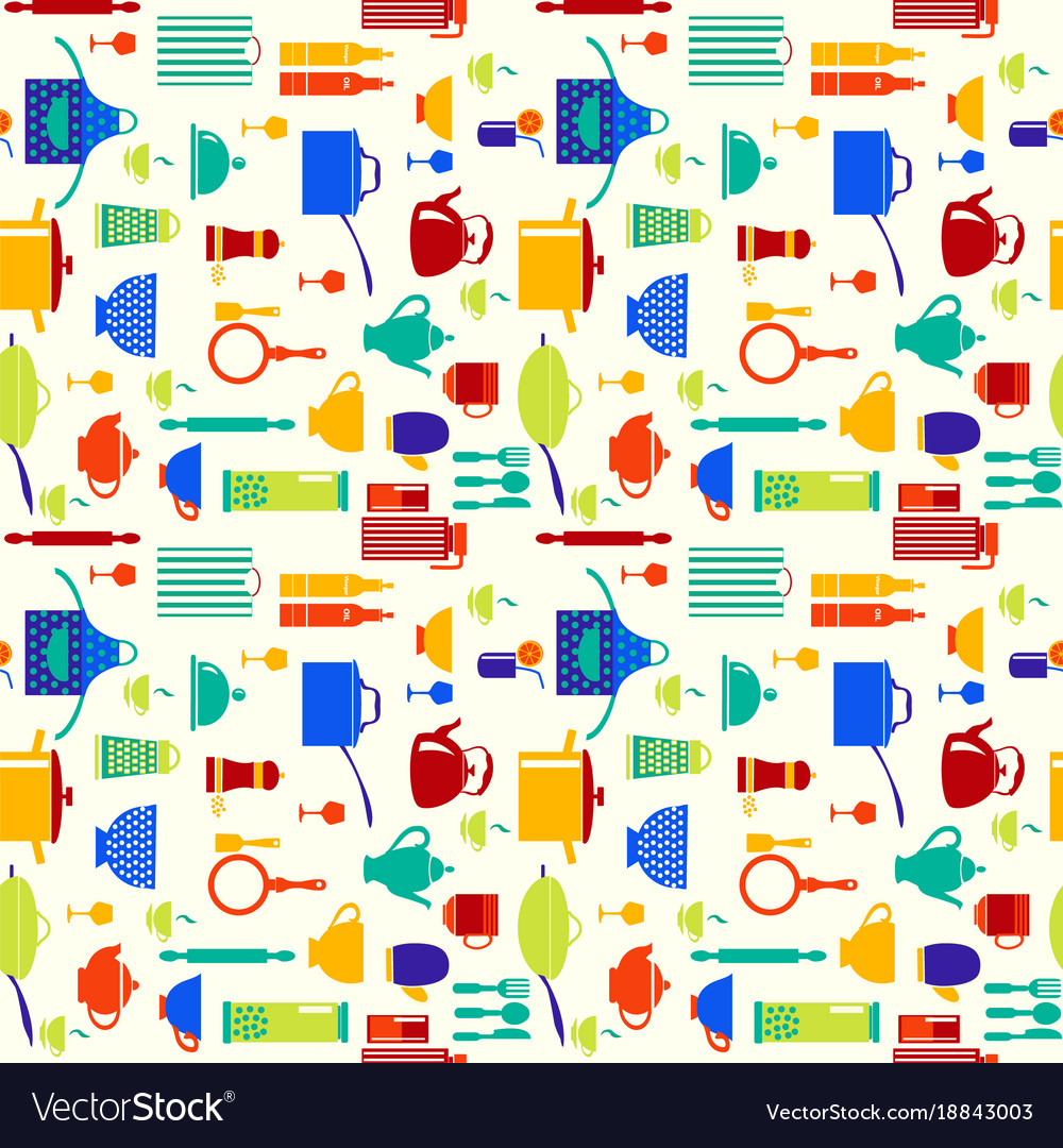 Background with icons of kitchen ware and utensils vector image