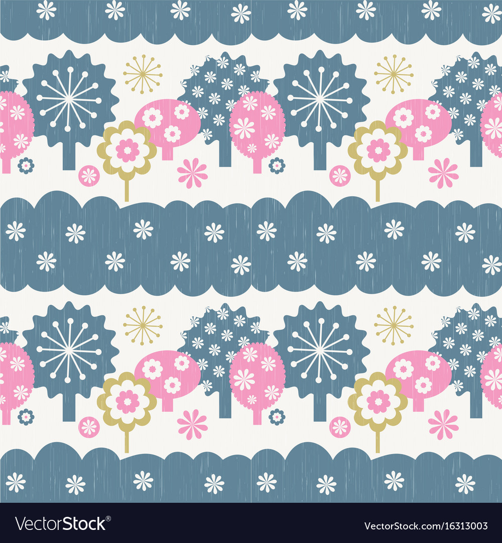 Cartoon trees seamless pattern vector image
