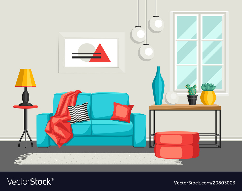 Interior living room furniture and home decor vector image Home decoration vector free