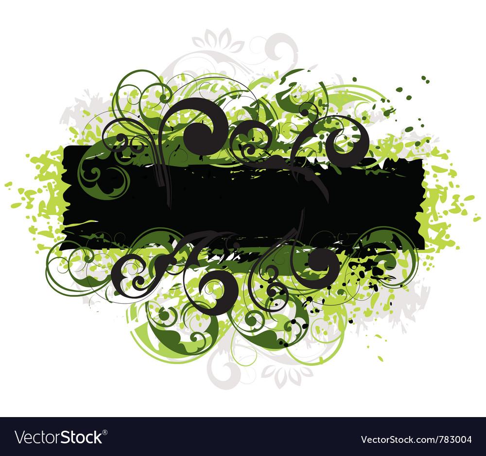 Green and black border vector image