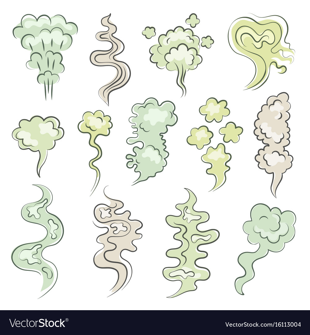 Different aroma clouds of vapor cartoon smells vector image