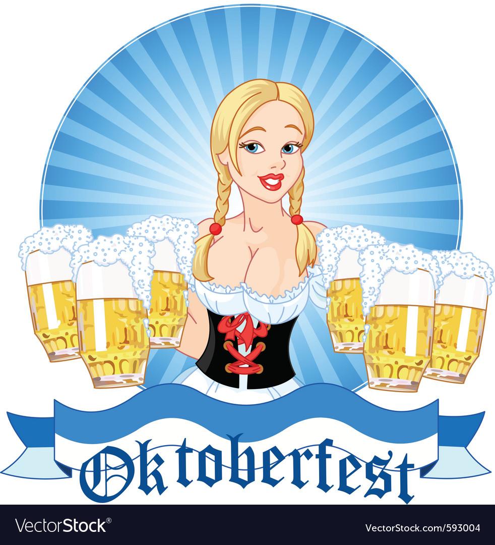 Oktoberfest girl serving beer vector image