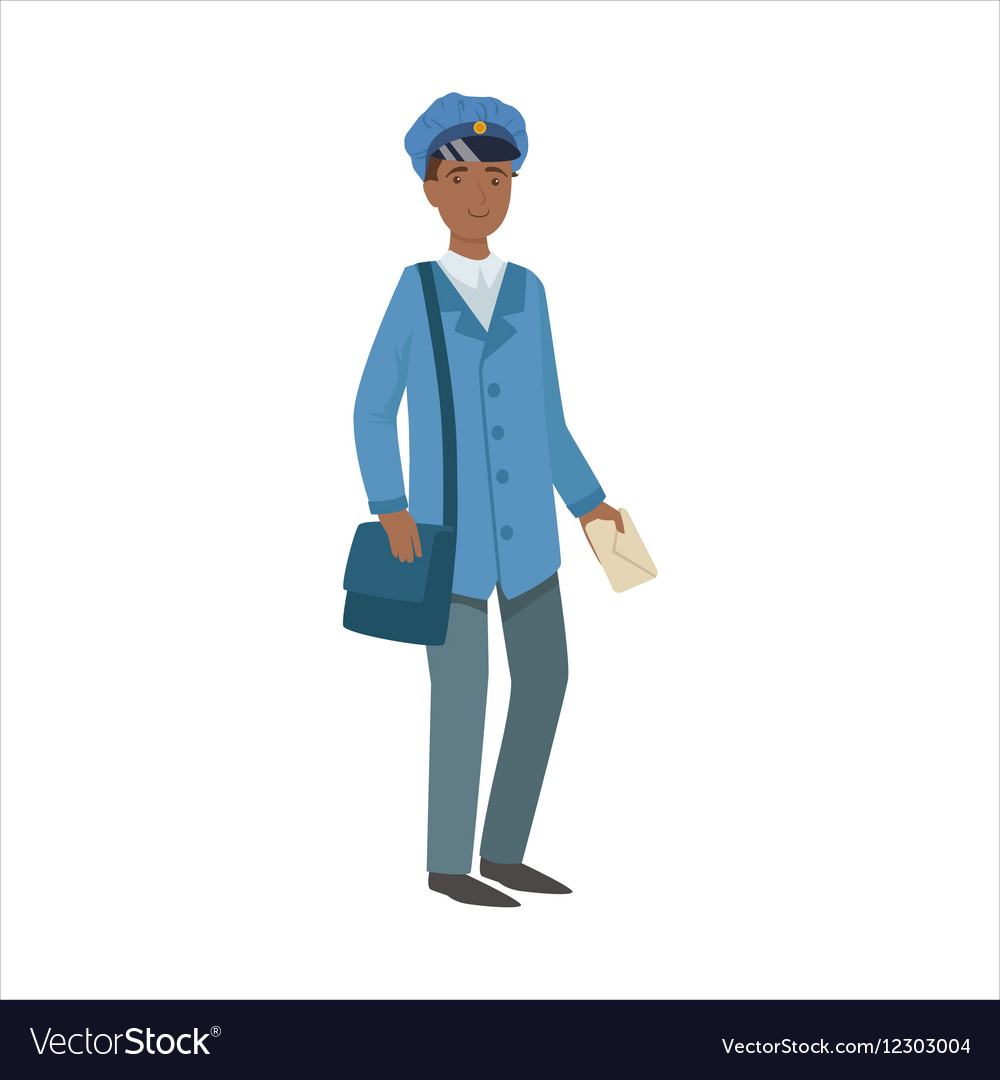 Postman With Handbag Part Of Happy People And vector image