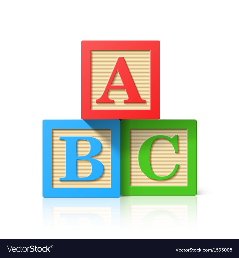 Wooden alphabet cubes with ABC letters vector image