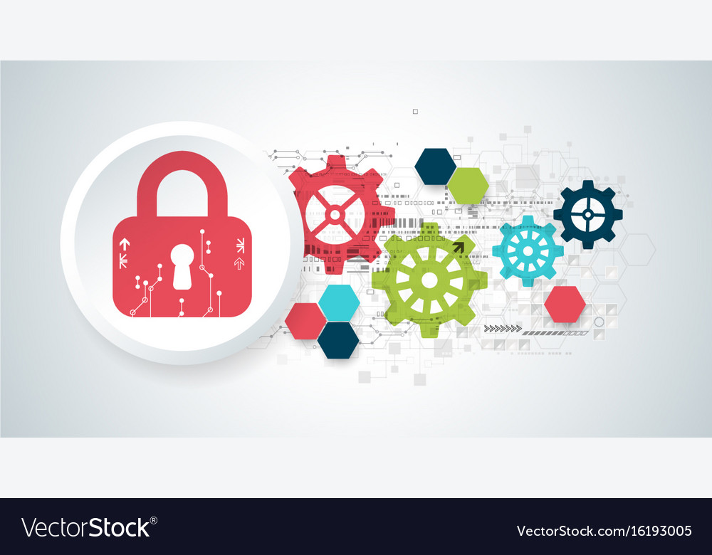 Protection concept security mechanism system vector image