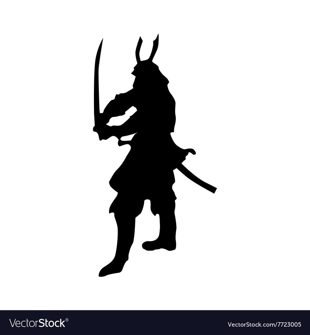 Samurai silhouette black Royalty Free Vector Image