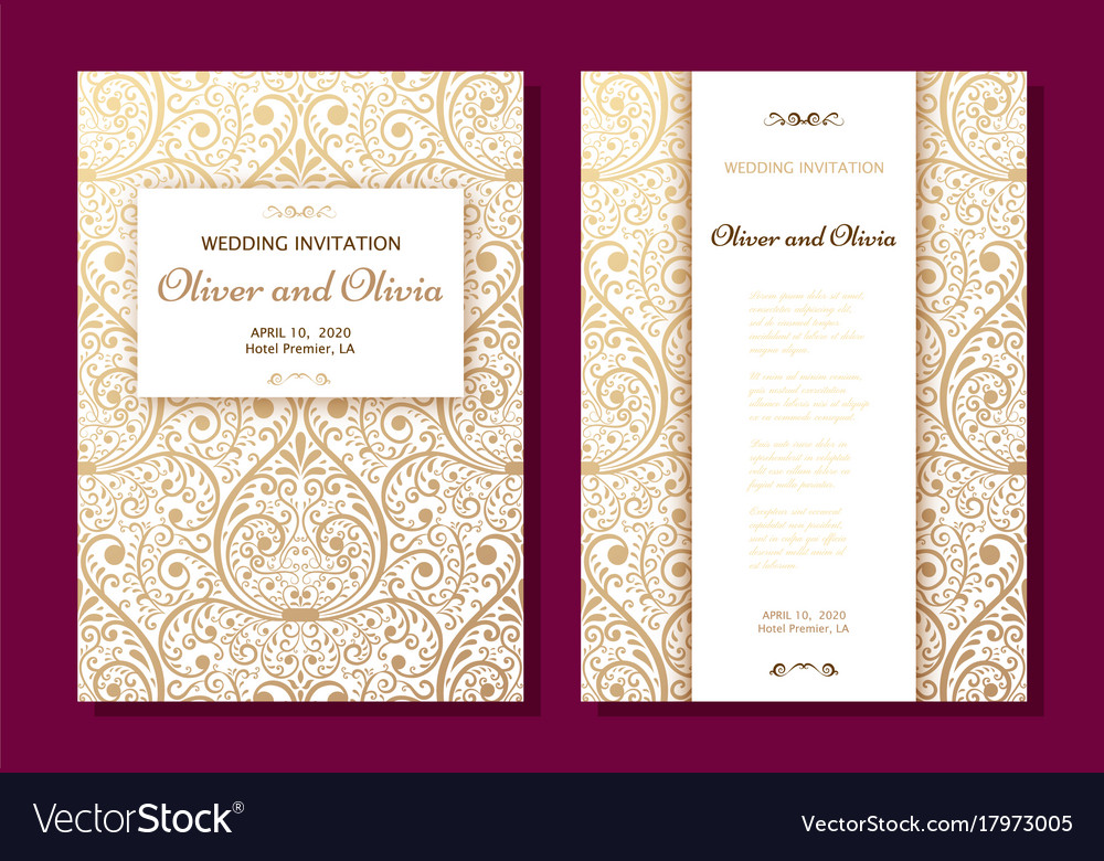 Set of wedding invitation templates cover design vector image stopboris Image collections