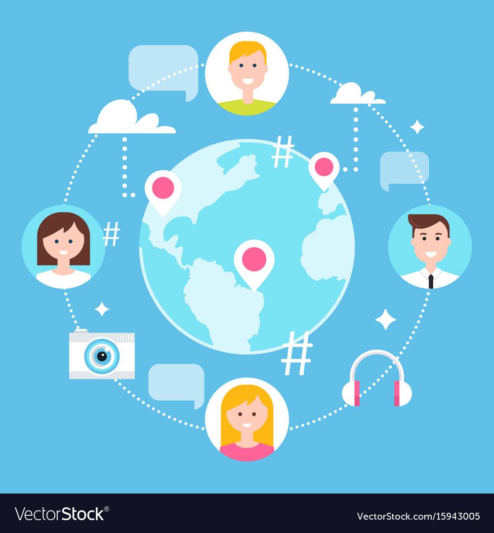 Social network followers and social media vector image