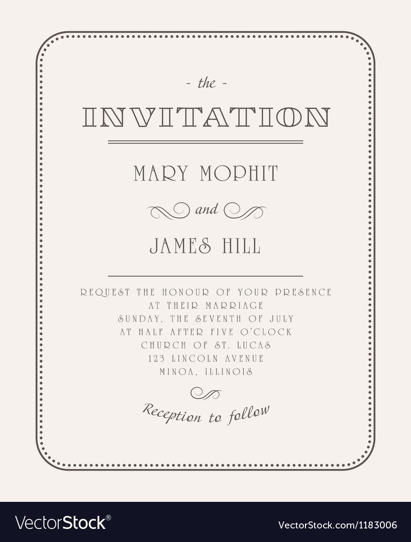 Vintage Invitation vector image