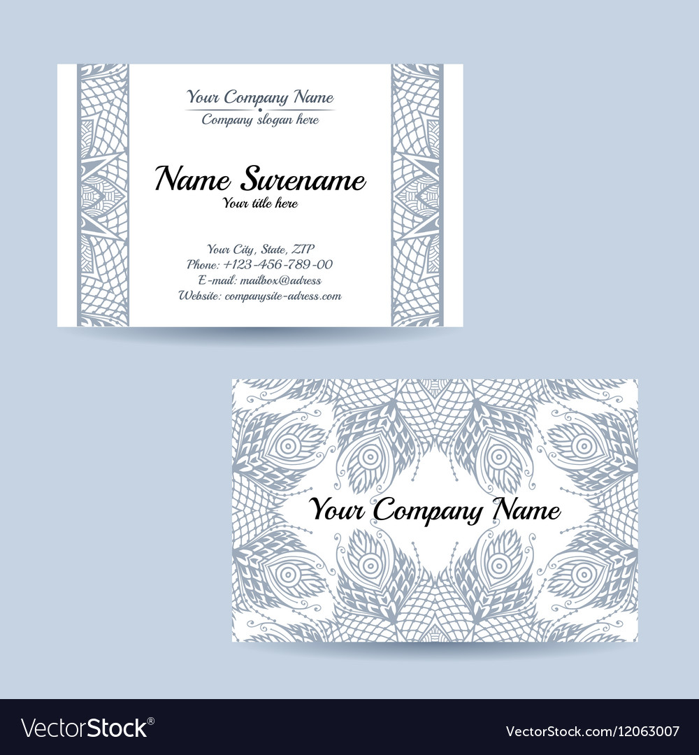 Double-sided ornamental business card vector image