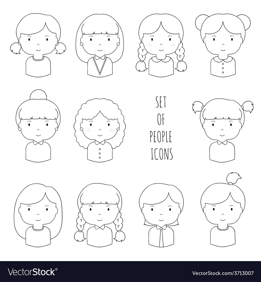 Set of line female faces icons Funny cartoon hand vector image